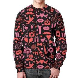 """Свитшот унисекс с полной запечаткой """"День святого Валентина"""" - любовь, сердца, день святого валентина, 14 февраля, день влюбленных"""