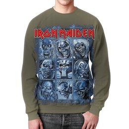 "Свитшот мужской с полной запечаткой ""Iron Maiden Band"" - heavy metal, рок музыка, рок группа, iron maiden, eddie"