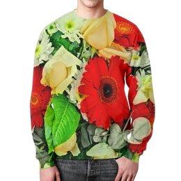 """Свитшот мужской с полной запечаткой """"Букет цветов"""" - цветы, узор, весна, природа, цветочки"""