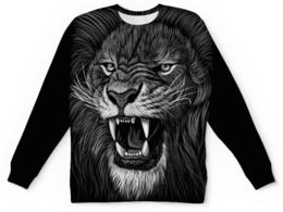 """Свитшот унисекс с полной запечаткой """"Царь зверей"""" - животные, лев, оскал"""