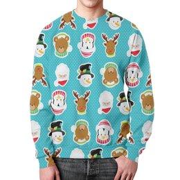 """Свитшот мужской с полной запечаткой """"Новый год"""" - новый год, медведь, санта, олень, пингвин"""