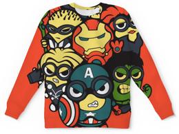 """Свитшот унисекс с полной запечаткой """"Лига супергероев"""" - супергерои, миньоны, железный человек, капитан америка, халк"""