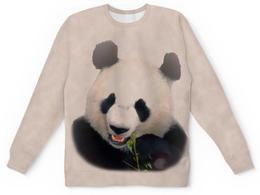 """Свитшот унисекс с полной запечаткой """"Панда"""" - медведь, панда, китай, бело-черный, бамбуковый"""