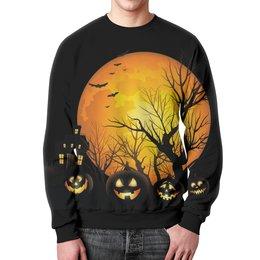 """Свитшот унисекс с полной запечаткой """"Хэллоуин (1)"""" - ночь, луна, тыквы, ужасы, мистика"""