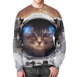 """Свитшот унисекс с полной запечаткой """"Кот космонавт"""" - кот, планета, космос, злой, космонавт"""