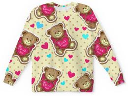 """Свитшот унисекс с полной запечаткой """"Милый мишка"""" - медведи, мишки, love you"""