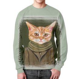 """Свитшот унисекс с полной запечаткой """"Кот в пальто"""" - кот, прикол, рисунок, cat, одежда"""