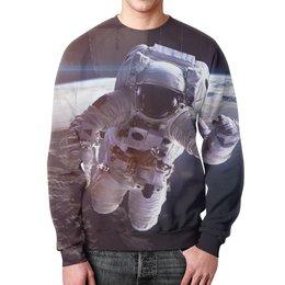 """Свитшот мужской с полной запечаткой """"Космос"""" - планета, космос, земля, луна, космонавт"""