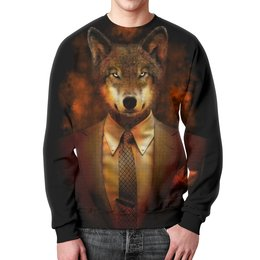 """Свитшот унисекс с полной запечаткой """"Мистер Волк"""" - абстракция, волк"""