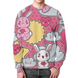 """Свитшот унисекс с полной запечаткой """"Зайцы аниме"""" - аниме, кролик аниме, облако аниме, зайцы аниме"""