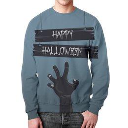 "Свитшот унисекс с полной запечаткой ""Хэллоуин"" - мистика, рука зомби, ужасы"