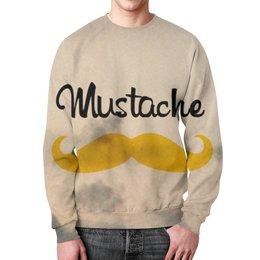 """Свитшот мужской с полной запечаткой """"Mustache"""" - усы, минимализм, mustache"""