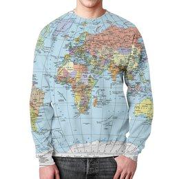 """Свитшот мужской с полной запечаткой """"Карта мира"""" - мир, страны, карта, политика, география"""