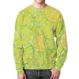 """Свитшот унисекс с полной запечаткой """"Лимончелло"""" - фрукты, рисунок, паттерн, лайм, лимон"""