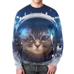 """Свитшот унисекс с полной запечаткой """"Котосмонавт"""" - кот, космос, животное, костюм"""