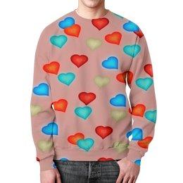 """Свитшот унисекс с полной запечаткой """"Сердечки"""" - сердечки, любовь, сердца, день святого валентина, я люблю"""