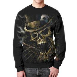 """Свитшот мужской с полной запечаткой """"Skull Art"""" - skull, череп, игральные карты, сигарета, арт дизайн"""
