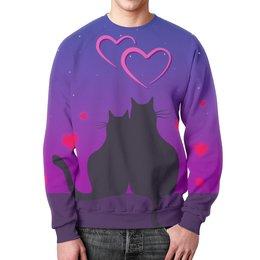 """Свитшот мужской с полной запечаткой """"Cat's desire"""" - любовь, кошки, парные, ко дню влюбленных"""