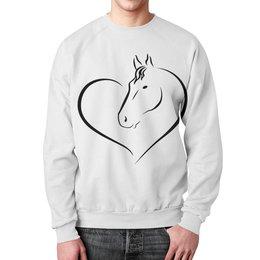 """Свитшот унисекс с полной запечаткой """"Милая лошадь"""" - сердце, лошадь, животное, рисунок"""