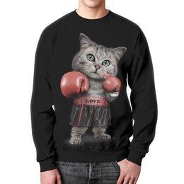 """Свитшот унисекс с полной запечаткой """"Кот Боксёр"""" - приколы, спорт, бокс, коты"""