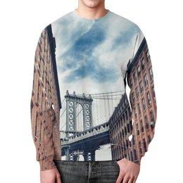 """Свитшот мужской с полной запечаткой """"Здания"""" - город, мост, кирпич, здания, стены"""
