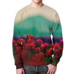 """Свитшот мужской с полной запечаткой """"Тюльпаны"""" - цветы, фото, тюльпаны"""