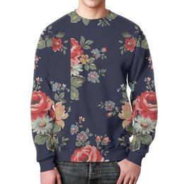 """Свитшот мужской с полной запечаткой """"Цветы (1)"""" - цветы, дизайн, паттерн"""