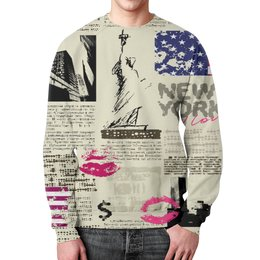 """Свитшот унисекс с полной запечаткой """"New York"""" - нью йорк, города, new york, газета, журнал"""