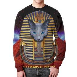 "Свитшот унисекс с полной запечаткой ""Фараон от SWANKY PETS"" - кот, фараон, пирамиды"