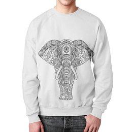 """Свитшот унисекс с полной запечаткой """"Индия"""" - узор, животные, слон, роспись, индия"""