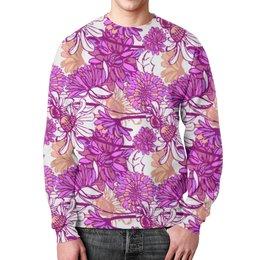 "Свитшот унисекс с полной запечаткой ""Purple blossom"" - арт, ромашка, паттерн"