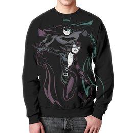 """Свитшот мужской с полной запечаткой """"Бэтмен и Женщина - кошка"""" - batman, бэтмен, catwoman, женщина- кошка"""