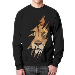 """Свитшот мужской с полной запечаткой """"Лев ( Lion)"""" - хищник, лев, lion, животное, царь зверей"""