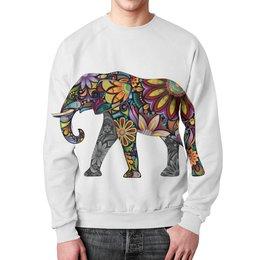 """Свитшот унисекс с полной запечаткой """"Цветочный слон"""" - цветы, слон, яркий, путешествия"""