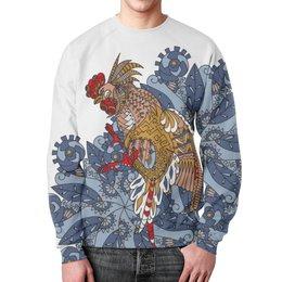 """Свитшот унисекс с полной запечаткой """"петушиное разноцветие"""" - узор, птица, символ года, злой, петух"""