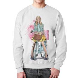 """Свитшот унисекс с полной запечаткой """"Весенняя прогулка"""" - девушка, весна, мода, люди, велосипеды"""