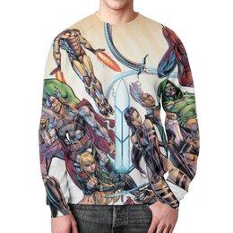 """Свитшот унисекс с полной запечаткой """"Супергерои"""" - batman, супергерои, iron man, green lantern, captain america"""