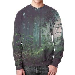 """Свитшот мужской с полной запечаткой """"Природа леса"""" - лес, деревья, природа, пейзаж, трава"""