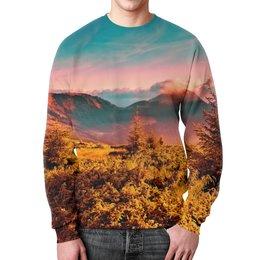 """Свитшот унисекс с полной запечаткой """"Природа"""" - пейзаж, закат, природа, горы, деревья"""