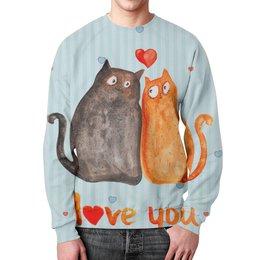 """Свитшот мужской с полной запечаткой """"Влюбленные коты"""" - любовь, коты, i love you"""