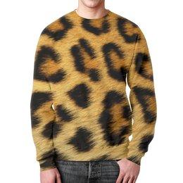 """Свитшот мужской с полной запечаткой """"Леопард"""" - кошка, арт, леопард, звери, леопардовый"""