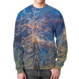 """Свитшот унисекс с полной запечаткой """"Космическая сосна"""" - голубой, космос, лес, синий, дерево"""