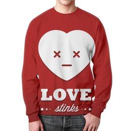"""Свитшот унисекс с полной запечаткой """"Love stinks"""" - любовь, 14 февраля, день влюбленных, love stinks"""