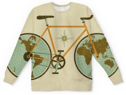 """Свитшот унисекс с полной запечаткой """"Велосипед"""" - велосипед, bike, глобус, педали, колёса"""