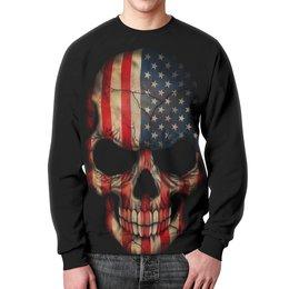 "Свитшот унисекс с полной запечаткой ""Череп/Флаг США"" - америка, череп, флаг, skull, usa"