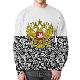 """Свитшот мужской с полной запечаткой """"Цветы и герб"""" - цветы, россия, герб, орел, хохлома"""
