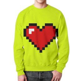 """Свитшот унисекс с полной запечаткой """"Сердце (8 bit)"""" - сердце, 8 bit, сердечки, wax, сердце 8 вит"""