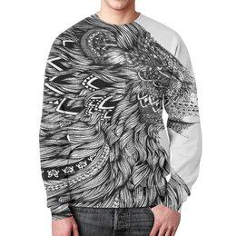 """Свитшот мужской с полной запечаткой """"Proud Lion"""" - стиль, лев, сила, природа и животные"""