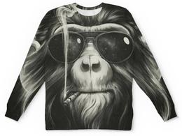 """Свитшот унисекс с полной запечаткой """"Monkey"""" - новый год, обезьяна, monkey, smoking"""