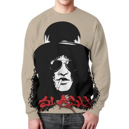 "Свитшот унисекс с полной запечаткой ""Slash "" - heavy metal, glam, guns n roses, хэви метал, guns n' roses"